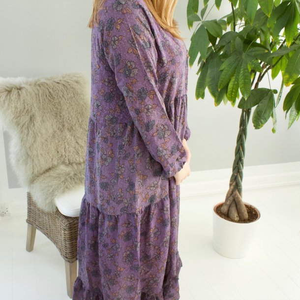 BOHO silkekjole med v-hals håndsyet i vintage sari stoffer - lilla - str. M/L
